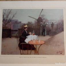 Arte: REPRODUCCION PINTURA R CASAS - OBSEQUIO LICOR DE BRANDY YUNEY - DESTILERIAS DIEGO ZAMORA. Lote 169212416
