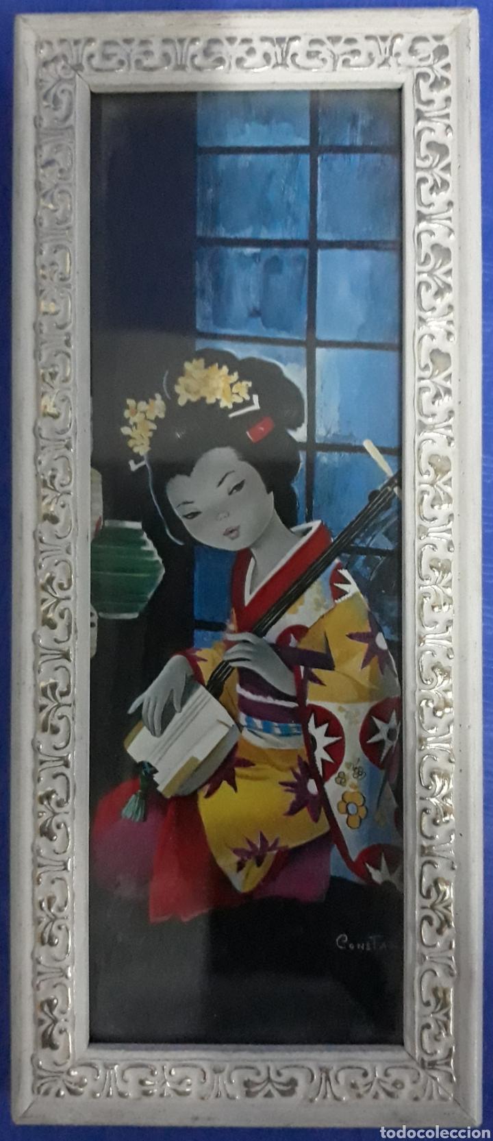 LAMINA ENMARCADA DAMA JAPONESA FIRMADO CONSTAN (Arte - Láminas Antiguas)