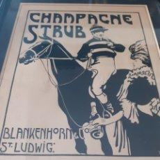 Arte: CHAMPAGNE STRUB. PUBLICIDAD. FINALES S.XIX. ENMARCADA. Lote 169543826