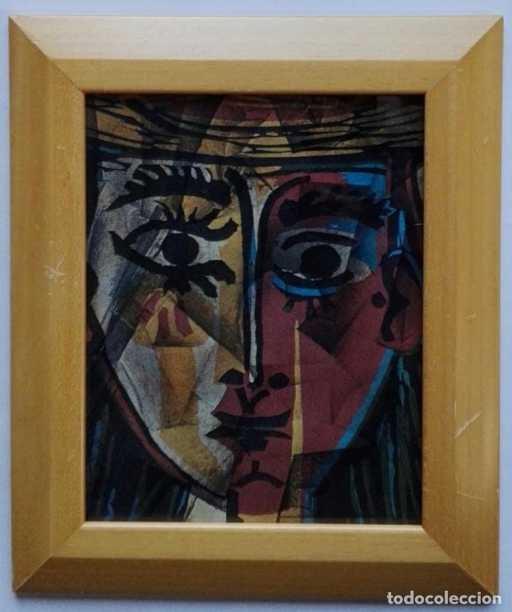 LAMINA INÉDITA PICASSO - PAPEL ACUARELA 300 GRAMOS ENMARCADO 32,5 X 27,5 (Arte - Láminas Antiguas)