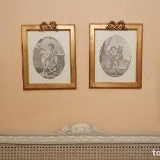 Arte: CUADRO RELIGIOSOS LOTE DE CUATRO LAMINAS CON ANGELES ENMARCADOS CON MADERA Y PANDE ORO. Lote 170873415