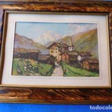 Arte: CERCO DE MADERA DE 23 X 30 CM, PAISAJE RURAL CON MARCO ESPECIAL. Lote 171839999