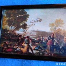 Arte: CERCO DE MADERA DE12,5 X 18 CM, ESCENA CAMPESTRE DE FCO. DE GOYA. Lote 171839559