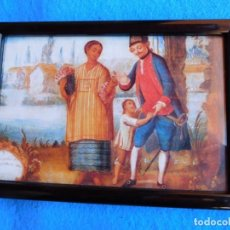 Arte: ESCENA FAMILIAR , CUADRO DE MADERA 18 X 24 CM . Lote 172119088