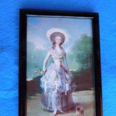 Arte: MUJER CON FLOR DE MONET, CUADRO DE MADERA 21 X 33 CM . Lote 172170238