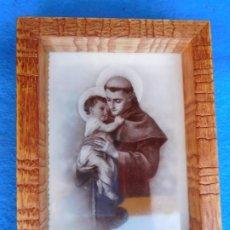 Arte: SAN ANTONIO DE PADUA, MARCO DE MADERA 18 X 26 CM . Lote 172172459