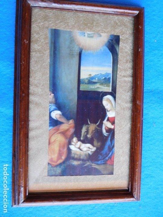 NACIMIENTO. MARCO DE MADERA 18 X 28 CM (Arte - Láminas Antiguas)
