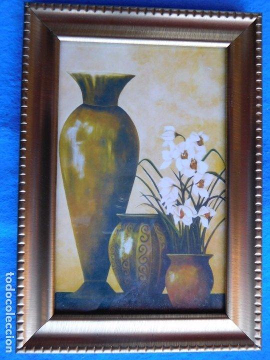 JARRÓN. MARCO DE MADERA 12 X 18 CM (Arte - Láminas Antiguas)