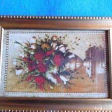 Arte: JARRÓN CON FLORES. MARCO DE MADERA 12 X 18 CM . Lote 172255967
