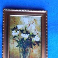 Arte: JARRÓN CON FLORES. MARCO DE MADERA 12 X 18 CM . Lote 172255988