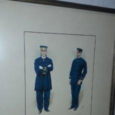 Arte: BELLO CUADRO MARINA MERCANTE CAPITÁN 1864 Y PRIMER MAQUINISTA 1914, FIRMADO C. URBEZ. Lote 172285163