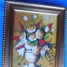 Arte: JARRÓN CON FLORES . MARCO DE MADERA 18 X 26 CM. Lote 172320914