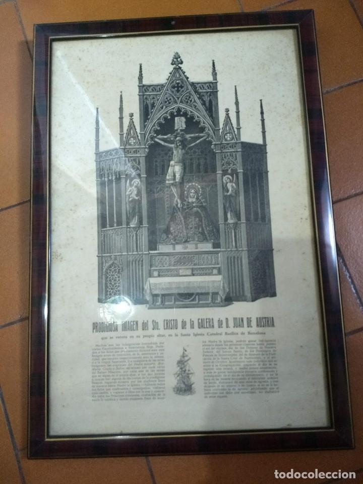ANTIGUO MARCO DE MADERA CON RIBETES DORADOS Y LÁMINA: IMAGEN DEL STO. CRISTO DE LA GALERA (Arte - Láminas Antiguas)