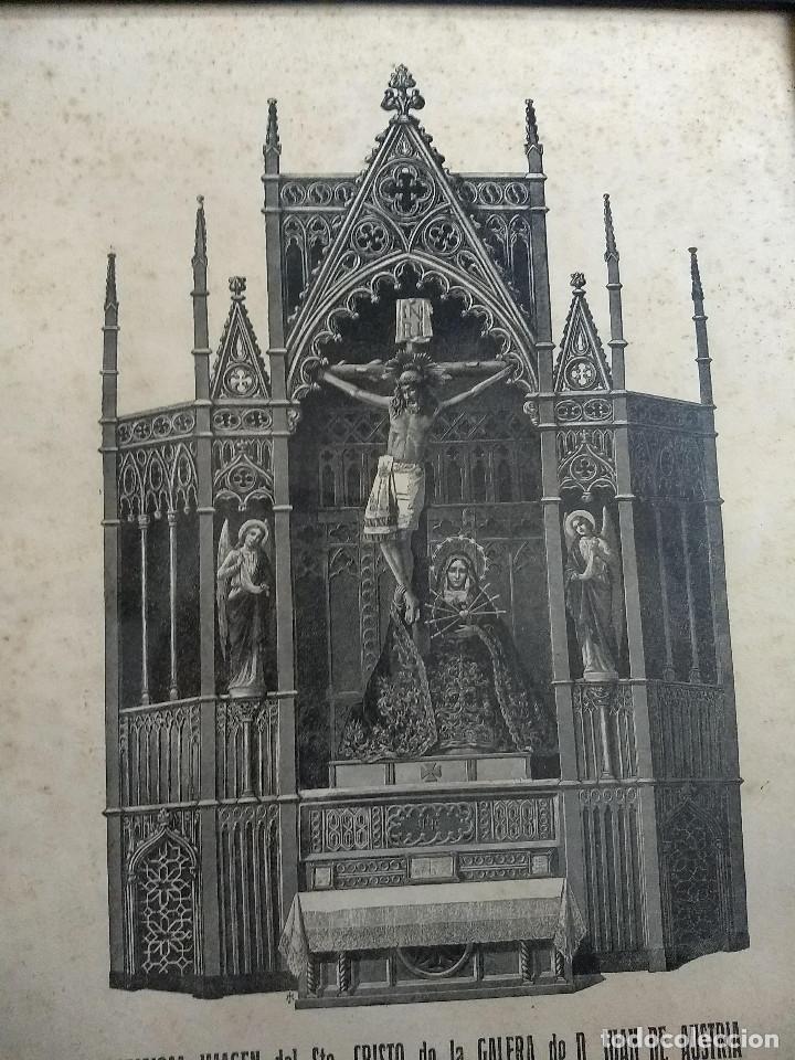 Arte: Antiguo marco de madera con ribetes dorados y lámina: Imagen del Sto. Cristo de la Galera - Foto 2 - 172717997