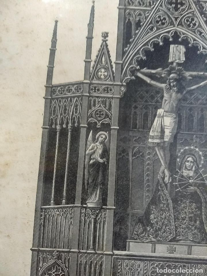 Arte: Antiguo marco de madera con ribetes dorados y lámina: Imagen del Sto. Cristo de la Galera - Foto 10 - 172717997
