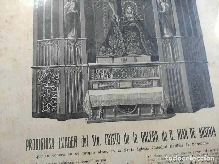 Arte: Antiguo marco de madera con ribetes dorados y lámina: Imagen del Sto. Cristo de la Galera - Foto 11 - 172717997