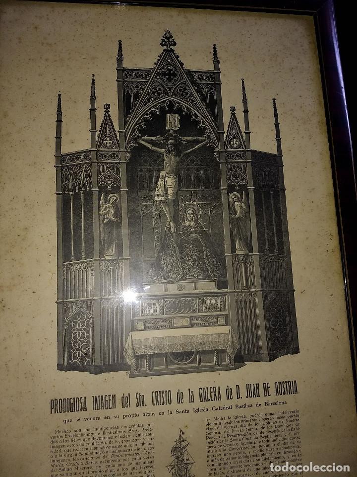 Arte: Antiguo marco de madera con ribetes dorados y lámina: Imagen del Sto. Cristo de la Galera - Foto 22 - 172717997