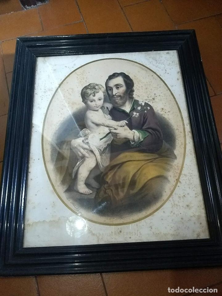 Arte: Pareja de marcos de madera antiguos con bonitas láminas San José con el Niño y La Inmaculada - Foto 2 - 172790103