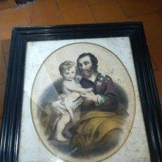Arte: PAREJA DE MARCOS DE MADERA ANTIGUOS CON BONITAS LÁMINAS SAN JOSÉ CON EL NIÑO Y LA INMACULADA. Lote 172790103