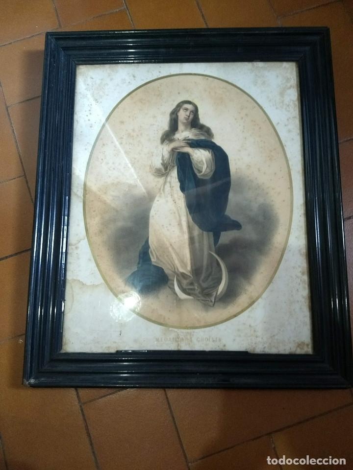 Arte: Pareja de marcos de madera antiguos con bonitas láminas San José con el Niño y La Inmaculada - Foto 3 - 172790103