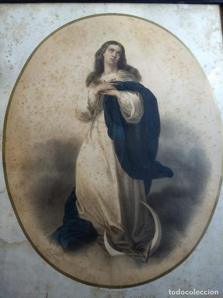 PAREJA DE MARCOS DE MADERA ANTIGUOS CON BONITAS LÁMINAS SAN JOSÉ CON EL NIÑO Y LA INMACULADA (Arte - Láminas Antiguas)