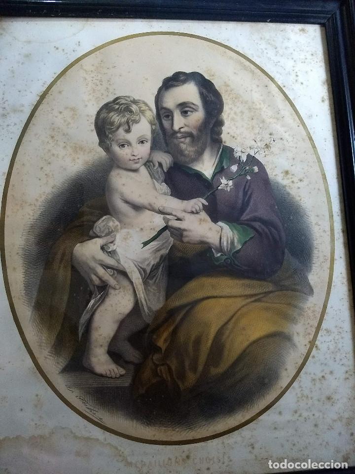 Arte: Pareja de marcos de madera antiguos con bonitas láminas San José con el Niño y La Inmaculada - Foto 6 - 172790103