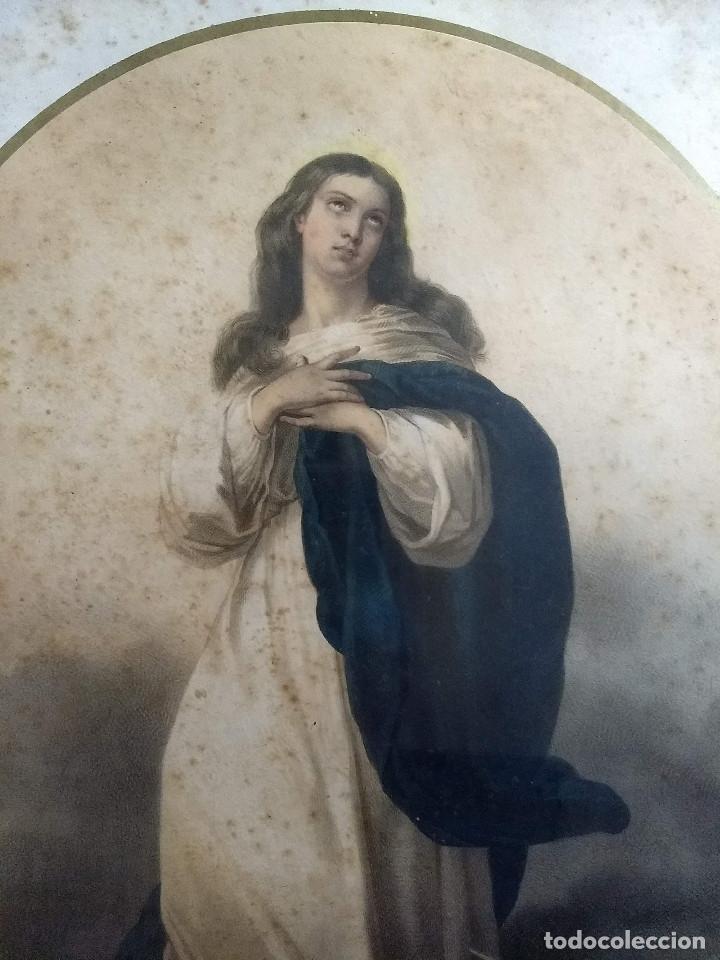 Arte: Pareja de marcos de madera antiguos con bonitas láminas San José con el Niño y La Inmaculada - Foto 7 - 172790103