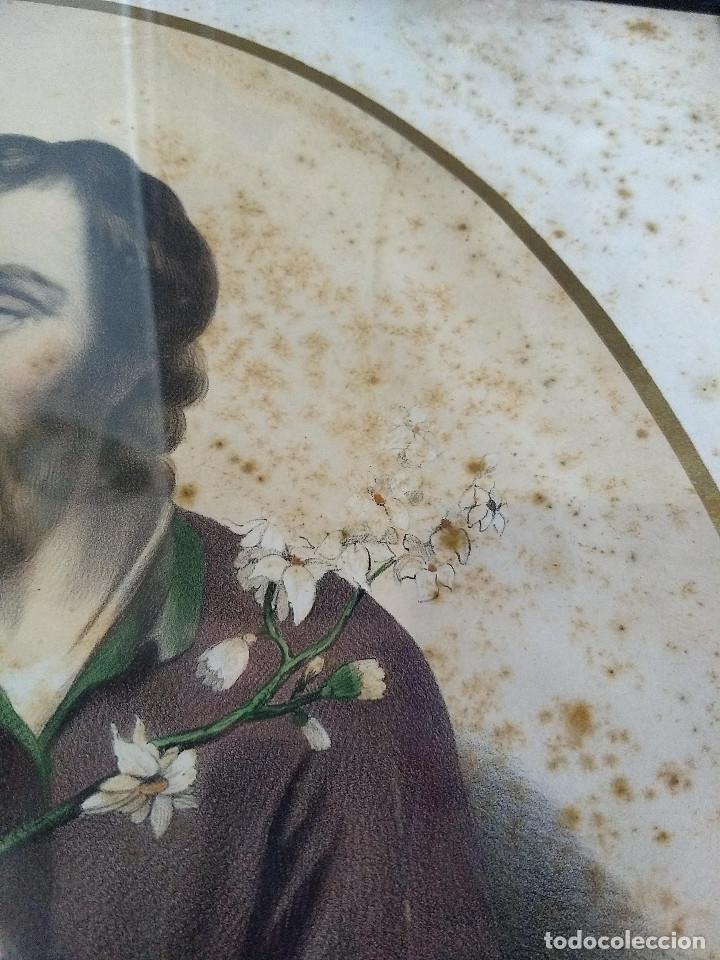 Arte: Pareja de marcos de madera antiguos con bonitas láminas San José con el Niño y La Inmaculada - Foto 11 - 172790103