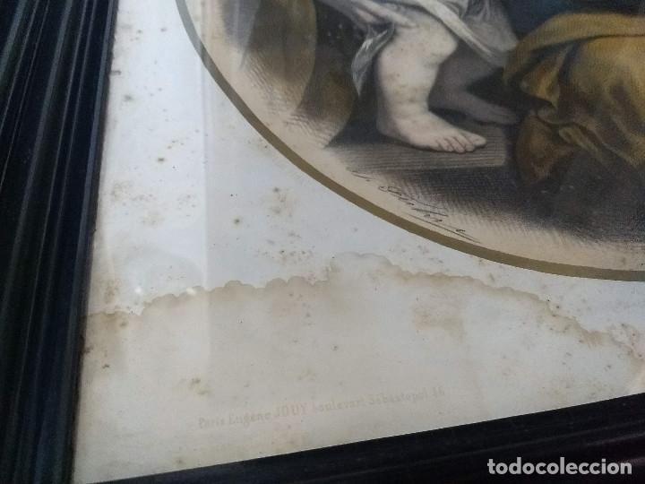 Arte: Pareja de marcos de madera antiguos con bonitas láminas San José con el Niño y La Inmaculada - Foto 24 - 172790103