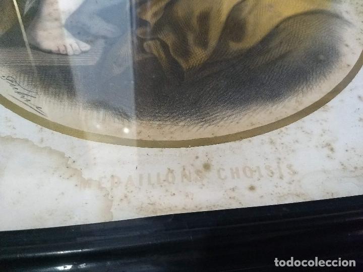 Arte: Pareja de marcos de madera antiguos con bonitas láminas San José con el Niño y La Inmaculada - Foto 25 - 172790103