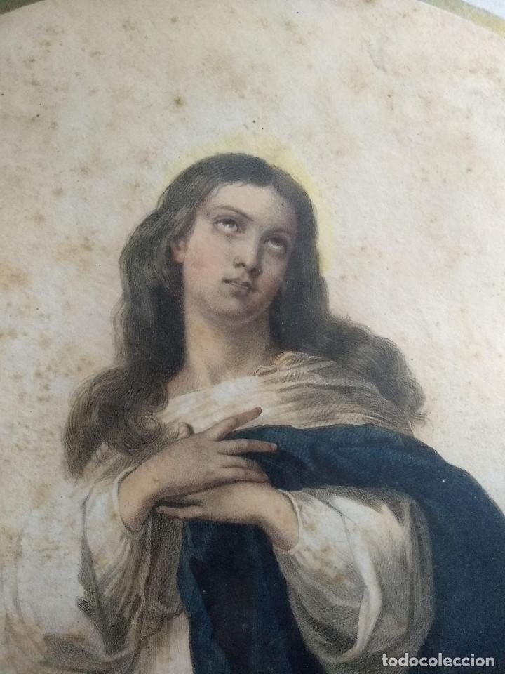 Arte: Pareja de marcos de madera antiguos con bonitas láminas San José con el Niño y La Inmaculada - Foto 5 - 172790103