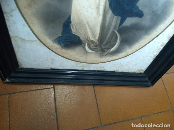 Arte: Pareja de marcos de madera antiguos con bonitas láminas San José con el Niño y La Inmaculada - Foto 32 - 172790103