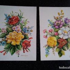 Arte: 14-DOS LAMINAS DE FLORES, ELENA OLIVERA, TROYA Nº 41 Y 39. Lote 194771096