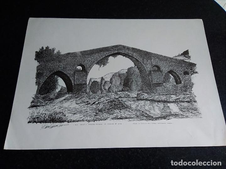 8-LAMINA RIO SELLA Y PUENTE ROMANO, CANGAS DE ONIS, ASTURIAS. 48 X 35 (Arte - Láminas Antiguas)