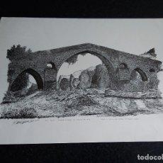 Arte: 8-LAMINA RIO SELLA Y PUENTE ROMANO, CANGAS DE ONIS, ASTURIAS. 48 X 35. Lote 174104902