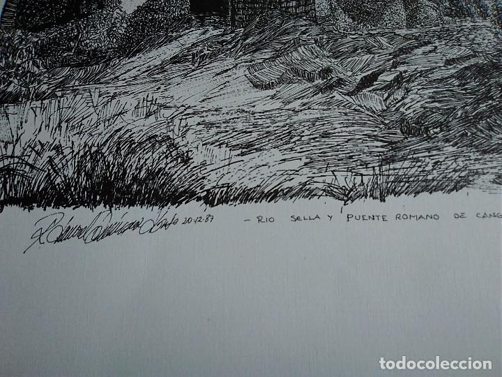 Arte: 8-LAMINA RIO SELLA Y PUENTE ROMANO, CANGAS DE ONIS, ASTURIAS. 48 X 35 - Foto 2 - 174104902