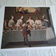 Arte: 43-LAMINA SAN HUGO EN EL REFECTORIO, ORIGINAL ZURBARAN, 43 X 24 CM. Lote 174382370