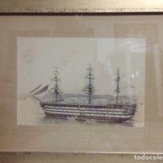 Arte: FOTO ANTIGUA DE BUQUE VELERO INGLÉS DE PASAJEROS, BIEN ENMARCADA (SIGLO XIX). Lote 174421332