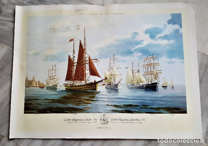 ESTEBAN ARRIAGA GRAN REGATA COLON 92 - LAMINA DE 69X51.CM APROX (Arte - Láminas Antiguas)