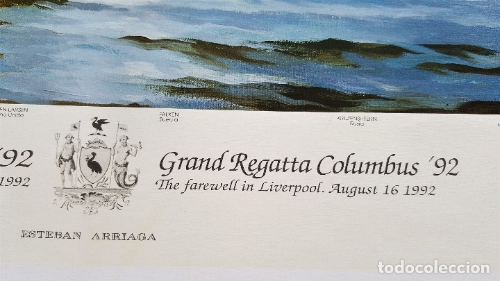 Arte: ESTEBAN ARRIAGA GRAN REGATA COLON 92 - LAMINA DE 69X51.CM APROX - Foto 4 - 174963709