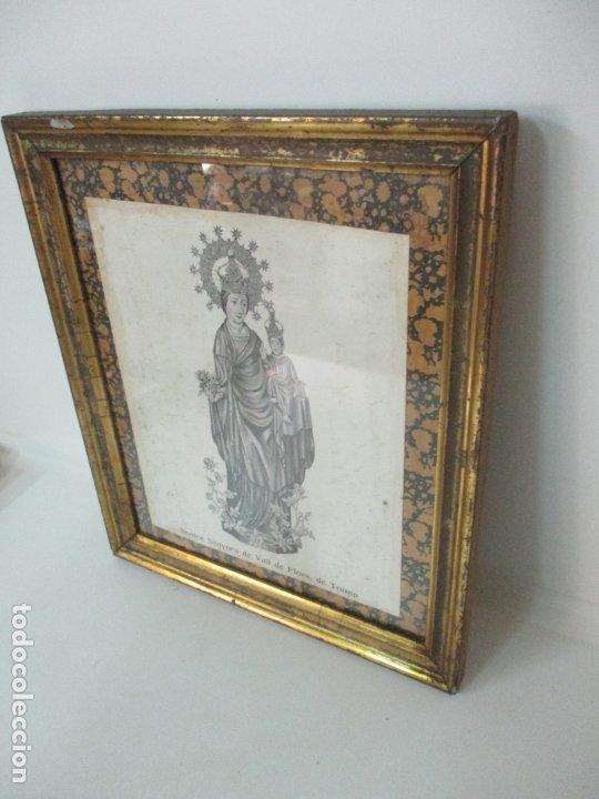 Arte: Antigua Lámina - Nostra Senyora de Vall de Flors, de Tremp - Con Marco de Madera Dorada - Foto 2 - 175110225