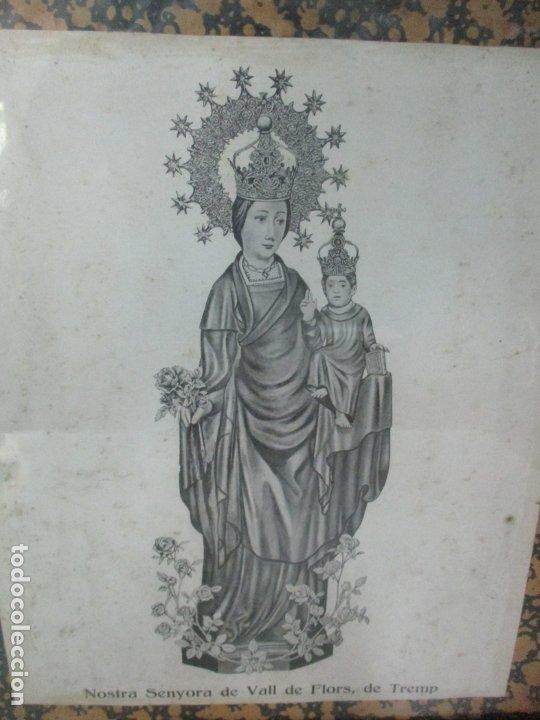 Arte: Antigua Lámina - Nostra Senyora de Vall de Flors, de Tremp - Con Marco de Madera Dorada - Foto 3 - 175110225