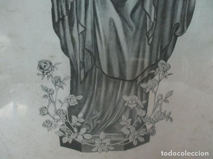 Arte: Antigua Lámina - Nostra Senyora de Vall de Flors, de Tremp - Con Marco de Madera Dorada - Foto 4 - 175110225