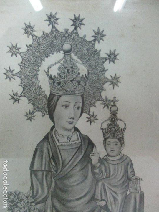 Arte: Antigua Lámina - Nostra Senyora de Vall de Flors, de Tremp - Con Marco de Madera Dorada - Foto 5 - 175110225