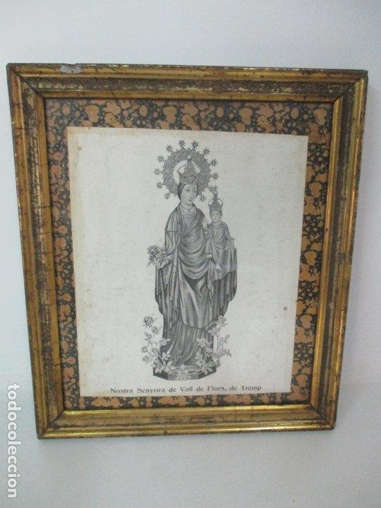 Arte: Antigua Lámina - Nostra Senyora de Vall de Flors, de Tremp - Con Marco de Madera Dorada - Foto 6 - 175110225