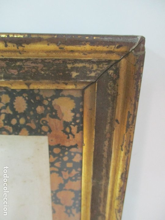 Arte: Antigua Lámina - Nostra Senyora de Vall de Flors, de Tremp - Con Marco de Madera Dorada - Foto 7 - 175110225