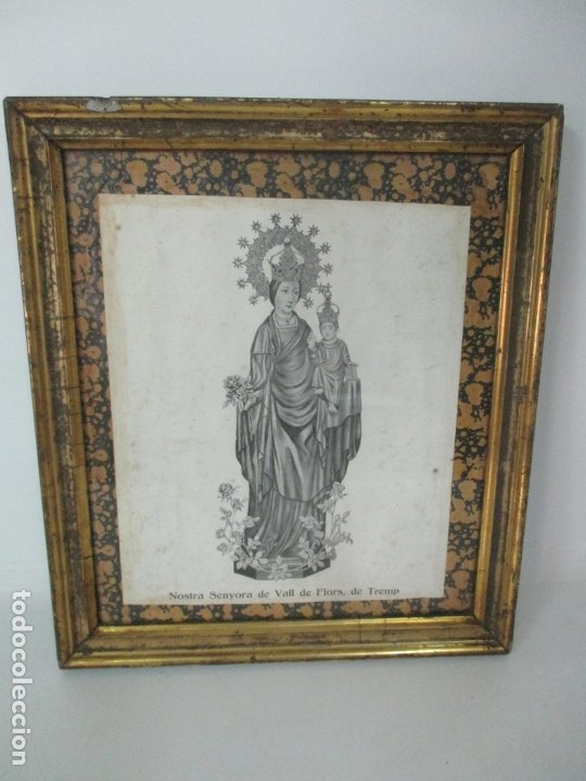 Arte: Antigua Lámina - Nostra Senyora de Vall de Flors, de Tremp - Con Marco de Madera Dorada - Foto 8 - 175110225