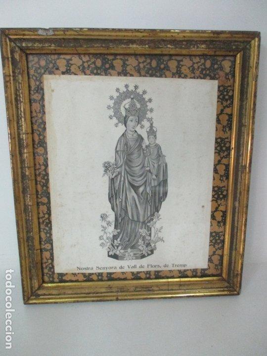 Arte: Antigua Lámina - Nostra Senyora de Vall de Flors, de Tremp - Con Marco de Madera Dorada - Foto 10 - 175110225