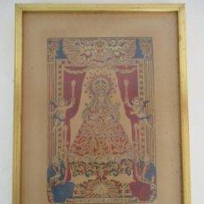 Arte: ANTIGUA LÁMINA - IMAGEN DE NUESTRA SEÑORA DE LA MERCED - PATRONA DE BARCELONA - MARCO DORADO. Lote 175128675