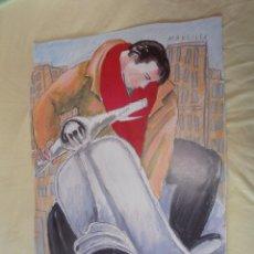 Arte: LAMINA CARTEL JAVIER DE JUAN - LA MOVIDA MADRILEÑA - VESPA 77 X 51. Lote 175226907